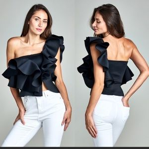 Tops - New Arrival !! One shoulder Black Ruffle Top